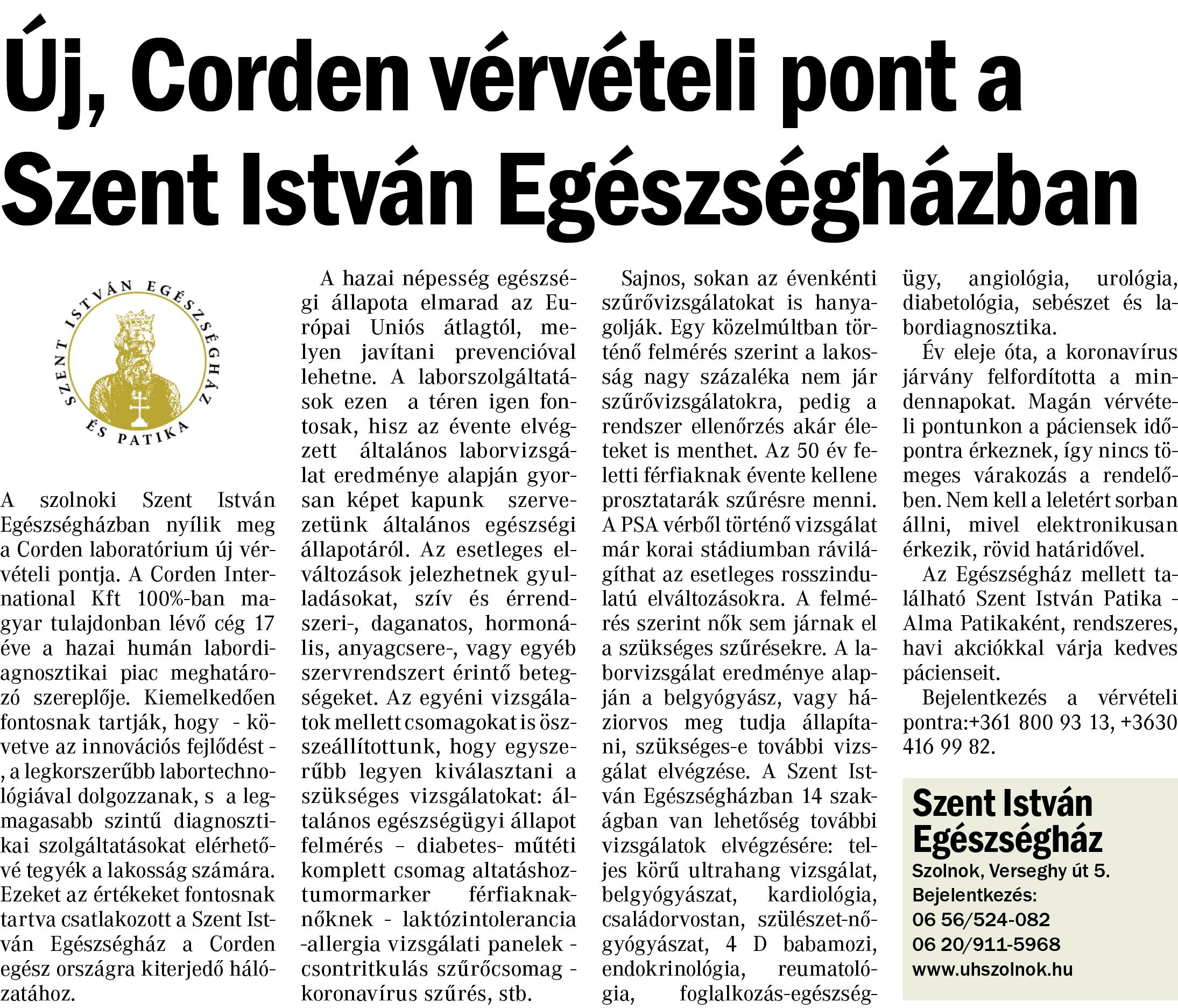 Corden vérvételi pont