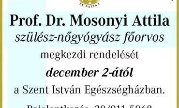 Prof. Dr. Mosonyi Attila szülész-nőgyógyász nálunk rendel